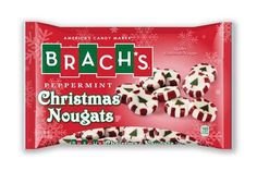 Brach's Christmas nougats come individually wrapped in Peppermint flavor (White and Red Striped Nougets with Christmas Trees). Brach's Peppermint nougats are a great holiday treat to fill up candy dishes around the house for Christmas parties and get togethers, or to put in stocking stuffers this holiday season. Net wt. 12oz.
