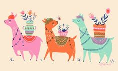Alpaca Friends by Erin Wallace Yarn Store, Printing On Fabric, Pattern Design, Rooster, Friends, Cute, Animals, Image, Illustrations