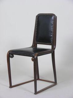 Josef Hoffmann; #725/B Beech and Leather Sidechair for J. & J. Kohn, c1905.