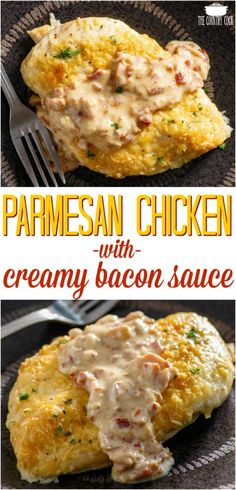 Low Carb Parmesan Crusted Chicken with Creamy Bacon Sauce recipe from The Country Cook #lowcarb #chicken #recipes #dinner #ideas