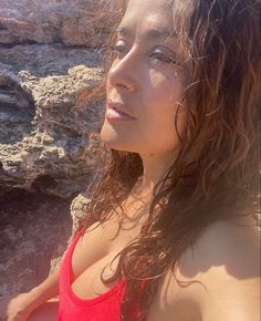 Salma Hayek cleavage in a red one piece swimsuit Salma Hayek Body, Salma Hayek Photos, Swimsuits, Bikinis, Swimwear, Red One Piece, Olay, You Are Beautiful, Nice Tops