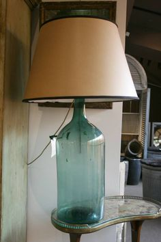 French carboy aqua green glass lamp  the cheaper version of the italian one