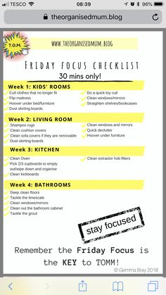 Organised mum method – Friday focus - Home Cleaning Routine