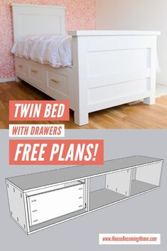 Build a twin bed with six shaker-style storage drawers using affordable construction lumber. Find the free plans at House Becoming Home.