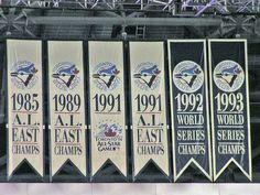 From the Blue Jays were an AL East powerhouse, winning five division championships in nine seasons, including three consecutive from During their run of three straight division championships, the team also became back-to-back World Series champions from Better Baseball, Sports Baseball, Baseball Toronto, American Baseball League, Mlb Teams, Sports Teams, Toronto Blue Jays, Go Blue, Banner