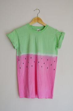 Tie Dye Dip Dye Top T-shirt Summer Festival Hipster Grunge Handmade 'Watermelon'