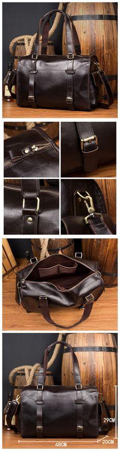 fef2f2370b9a7 Genuine Leather Duffle Bag Leather Travel Bag Shoulder Bag MS134