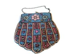 Antique Purse Handbag Pink And Blue Floral by EraAntiquesandFinds