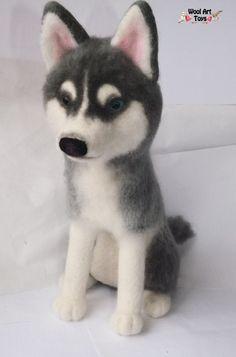 Needle felted Siberian Husky - Prince by WoolArtToys.deviantart.com on @DeviantArt