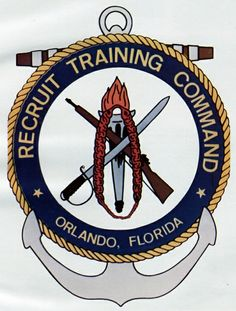 Emblem of Recruit Training Command (RTC) Orlando, FL the US Navys only co-ed boot camp. Today, all male and female recruits are trained at RTC Great Lakes, IL.but back when I went in it was Orlando. Military Ranks, Navy Military, Military Life, Navy Day, Go Navy, Us Navy Recruiting, Badges, Us Navy Uniforms, Navy Tattoos