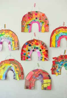 Children use colored collage material to make a rainbow out of cardboard .Children use colored collage material to make a cardboard rainbow. rainbowcrafts Children use colored collage material to make a cardboard rainbow. Easy Crafts For Kids, Projects For Kids, Diy For Kids, Fun Crafts, Colorful Crafts, Toddler Art Projects, Children's Arts And Crafts, Art Projects For Kindergarteners, Children Art Projects
