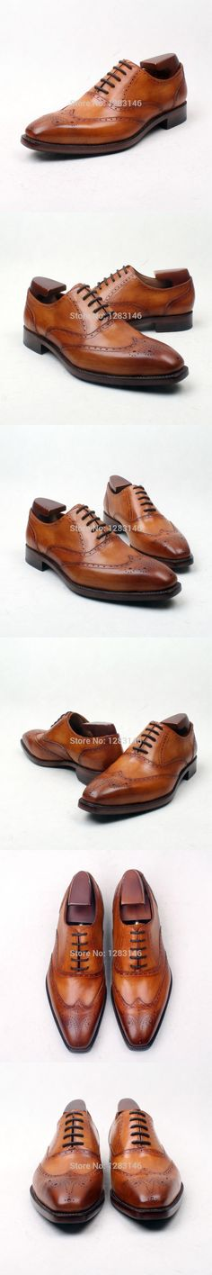 obbilly Handmade Genuine Calf Leather Upper/outsole/Insole Brown Color Goodyear Craft Brogues Square  toe Shoe No.ox642