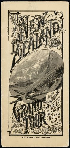 An arrangement of text, with an inset scene of New Zealand mountains. The inset is in the shape of an artist's palette with three brushes through t. New Zealand Mountains, Australian Continent, Island Nations, Largest Countries, New Zealand Travel, South Island, Small Island, Grand Tour, Vintage Travel Posters