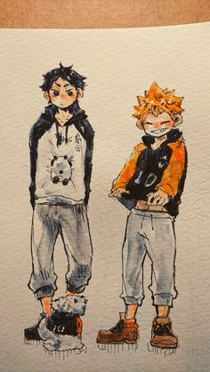 AAAAAA so cute! (and the art is so cool too) Cute Art Styles, Cartoon Art Styles, Haikyuu Fanart, Haikyuu Anime, Arte Sketchbook, Image Manga, Anime Poses, Anime Sketch, Character Drawing