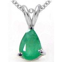 0.85ctw Genuine Emerald 5x7mm Pear & .925 Sterling Silver Pendant With Chain (SJP10040EMR), Birthstone Pendants. Buy Now: http://www.sterlingsilverjewelry.tv/genuine-emerald-925-sterling-silver-chain-pendant-sjp10040emr.html #sterlingsilverpendant #silverpendantjewelry #pendantsilver #menpendant