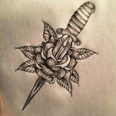 Dagger / Rose tattoo sketch by - Ranz