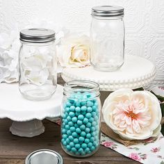 Party Supplies Plain 16 oz Mason Jars DIY Candle Holders or Party Favors for Weddings, Bridal Showers and Special Occasions and Events