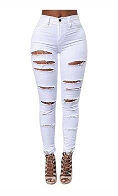 a1bcb7af Hslieey Women's High Waist Skinny Ripped Jeans Distressed Stretch Denim Slim  Fit Pants White Black