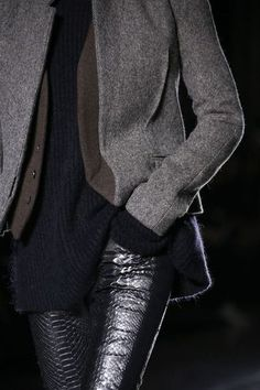 Layers - grey wool, black shirt, gorgeous tight leather black trousers