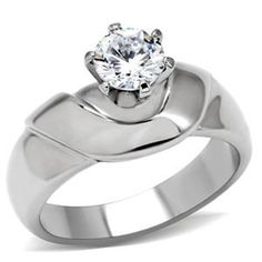 5mm Round CZ High Sit Stainless Steel Wedding Ring