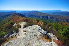 View from hiking trail on Table Rock in North Carolina mountains & Pisgah National Forest