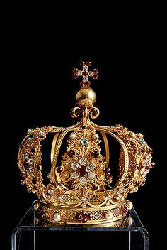 19th Century Gilt Brass Crown with Colored Facet Cut Glass Jewels and Pearls