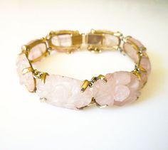 10K Gold Bracelet Carved Rose Quartz Chinese by zephyrvintage
