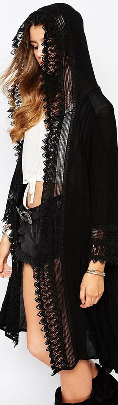 Spiritual Hippie Longline Kimono With Long Sleeves In Lace With Hood