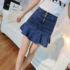 Barato 2015 de moda de nova mulheres saias de cintura Denim saias feminino saia Jeans, Compro Qualidade Saias diretamente de fornecedores da China:        Tamanho          S          M          L          XL          XXL          XXXL          XXXXL            Comprim