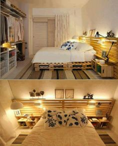 Cama producida a partir del reciclaje de pallets. Bed made of reciclyng pallets.