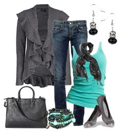 """""""Aqua and Gray Casual"""" by smores1165 ❤ liked on Polyvore featuring Daytrip, RoÃ¿ Roger's, Marc O'Polo, GUESS by Marciano, Wallis, Stuart Weitzman and Merona"""