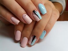 Elegant nails, Manicure by summer dress, New ideas of nails, Original nails… Two Color Nails, Blue Nails, My Nails, Nails 2017, Prom Nails, Pink Nail, Spring Nail Art, Spring Nails, Summer Nails