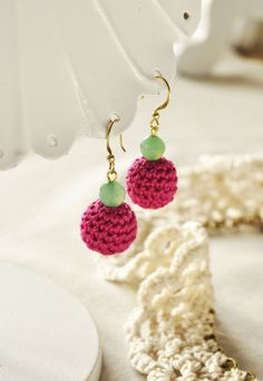Fuchsia Crochet Bead Earrings w/ Seafoam Agate Beads