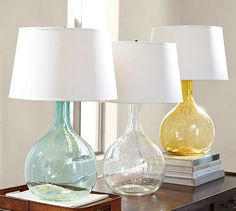 Master Bdrm: bedside table lamps - Eva Colored Glass Table Lamp | Pottery Barn