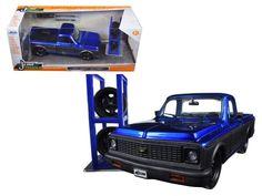 "1972 Chevrolet Cheyenne Blue/Matt Grey Pickup Truck \Just Trucks\"" with Extra Wheels 1/24 Diecast Model by Jada"""