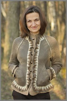 Crow's Nest - Coffee Beans felted jacket with detailed photos how to make