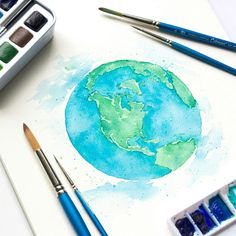 Watercolor painting of Planet Earth