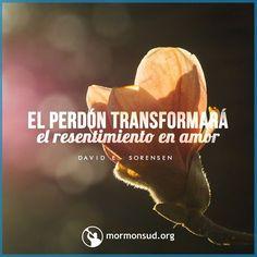 El perdonar significa que los problemas del pasado no marcarán más nuestro destino y podremos concentrarnos en el futuro con el amor de Dios en el corazón. David E. Sorensen