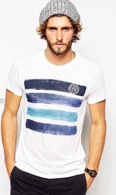 Shop Replay T-Shirt Shades of Denim Print at ASOS. Shirt Logo Design, Shirt Designs, Cool T Shirts, Tee Shirts, T Shirt Painting, Brand Collection, T Shirt Diy, Mens Tees, Printed Shirts