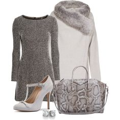 A fashion look from November 2014 featuring grey dress, fox fur trim coat and evening shoes. Browse and shop related looks.