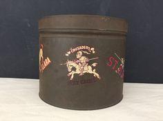 Tin - Vintage Storage Tin with College Stickers - Metal Tin - College Teams - University Tin - Prop - Display - Collectible Tin - Decals