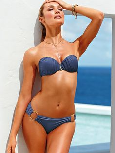 Very SexyBandeau Top shown with cheeky hipkini bottom in color blue stone ruched | VS