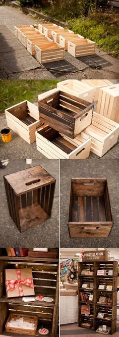 DIY Wooden Crates / Shelves / Storage ------------------------------------------- Im . - DIY Wooden Crates / Shelves / Storage ——————————————- Reference image f - Repurposed Furniture, Pallet Furniture, Furniture Ideas, Antique Furniture, Reuse Furniture, Repurposed Items, Furniture Styles, Cheap Furniture, Bedroom Furniture