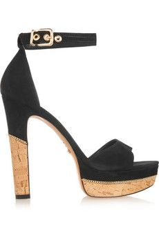 Schutz Chain-trimmed suede sandals   THE OUTNET