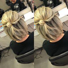 Best New Bob Hairstyles 2019 Cute-Bob-Hair-Bun Best . - Best New Bob Hairstyles 2019 Cute-Bob-Hair-Bun Best New Bob Hairstyles - Bob Hairstyles 2018, Bob Hairstyles For Fine Hair, Layered Bob Hairstyles, Bun Hairstyles, Bob Hairstyles How To Style, Easy Mom Hairstyles, Hairdos, Short Haircuts, Bob Hair Updo