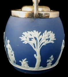 Biscuit Barrel Wedgwood England Dark Blue Jasper Dip Classical Figures – Antiques And Teacups