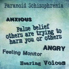 Skittles In The Pit: Mental Disorders - Paranoid Schizophrenia Mental Illness Help, Mental Illness Awareness, Mental Health Illnesses, Mental Health Disorders, Mental Health Quotes, Living With Schizophrenia, Paranoid Schizophrenia