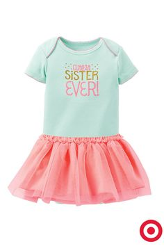 Dress her in The Cutest Sister Ever bodysuit and this frilly pink tutu, and even big brother and sis will agree she's adorable. Both are from Just One You made by Carter's.