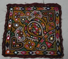Indian Vintage kutchi Round mirror work handmade embroidered tapestry Designer Patch traditional wall hanging Handmade trible wall decor by textileszone on Etsy