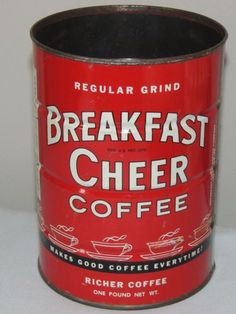 Vintage 1 LB Breakfast Cheer Coffee Tin Can Leetsdale PA